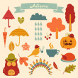 Stock Vector: Autumn Elements Set - for scrapbook, design, invitation, greetings