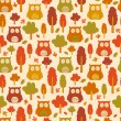 Seamless owl pattern with autumn leaves — Stock Vector