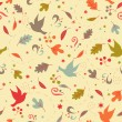 Stock Vector: Seamless pattern with autumn leaves