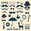 Stock Vector: Retro set with mustache, glasses, hats, umbrelland others