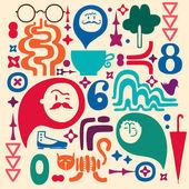 Doodle mix, set of design element, colorful — Stock Vector