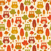Seamless owl pattern with autumn leaves — Vector de stock
