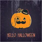 Hello Halloween Pumpkin — Stock Vector