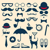Retro set with mustache, glasses, hats, umbrella and others — Stock Vector