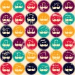 Seamless retro pattern. Texture with funny faces. — Stock Vector