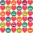 Seamless retro pattern. Texture with threadbare hearts and funny faces. — Stok Vektör