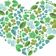 Natural eco green heart. — Stock Vector