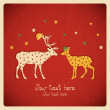 Celebration deers, colorful card. — Imagen vectorial