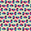 Seamless geometric pattern with colorful hearts. — Векторная иллюстрация