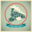 Postcard with old-fashioned train. — Stock Vector