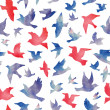 Watercolor birds seamless pattern. — Stock Vector
