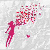 The girl jumping with swarm of birds. — Stock Vector