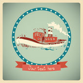 Postcard with old-fashioned boat. — Stock Vector