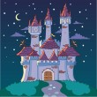 Magic castle at night — Stock Vector