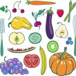 Set of fruits and vegetables  — Imagen vectorial