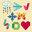 Set of drawing origami elements. — Vector de stock