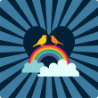 Heart, rainbow with clouds and birds — Imagen vectorial