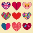 Set of different hearts — Imagens vectoriais em stock