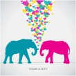 Two elephants, love colorful card. — Stock Vector