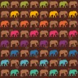 Texture with colorful elephants — Imagen vectorial