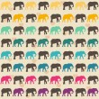 Texture with colorful elephants — Stock Vector