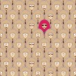 Seamless pattern with funny people faces. — Stok Vektör