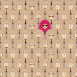 Seamless pattern with funny people faces. — Stock vektor