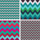 Geometric abstract seamless patterns set — Stock Vector