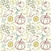 Vegetables and fruits seamless pattern — Stock Vector