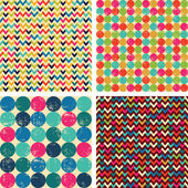 Seamless patterns set: balls, zigzags — Stock Vector