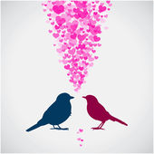 Two birds, love colorful card. — Stock Vector