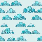 Bezešvé pattern s kreslenými stylizované mraky — Stock vektor
