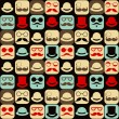 Mustache faces seamless pattern — Stock Vector #36822367