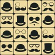 Stock Vector: Mustache faces seamless pattern
