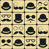 Mustache faces seamless pattern — Stock Vector