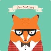 Fox card. — Stock Vector