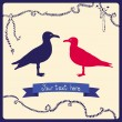 Two gulls, love colorful card — Stock Vector
