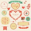 Valentines day retro graphic design elements — Stock Vector #38768933