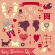 Valentines day retro graphic design elements — Stock Vector #38768947