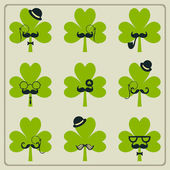 St Patricks day mustached shamrock set — Stock Vector