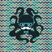 Hipster octopus — Stock Vector