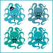 Set of elegant octopuses — Stock Vector