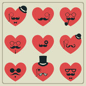 Valentine's Day mustached hearts — Stock Vector