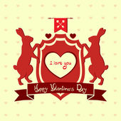 Valentine's Day heraldic crest with animals — Stock Vector