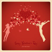 Girl and boy jumping with swarm of birds. Valentine's Day card — Stock Vector