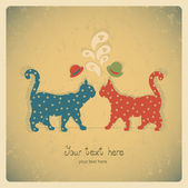 Two cats love card — Stock Vector