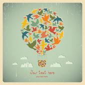 Balão de ar quente com pássaros. — Vetor de Stock