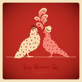 Two pigeons, love card — Stock Vector