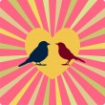 Two birds in love, in yellow heart — Stock Vector