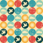 Seagulls and clouds retro seamless pattern — Stock Vector